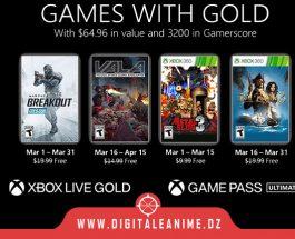 Xbox With Gold Jeux pour mars 2021